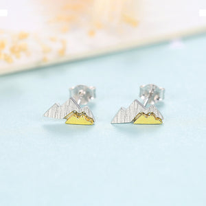 925 Sterling Silver Simple and Fashion Two-color Mountain Stud Earrings