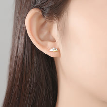 Load image into Gallery viewer, 925 Sterling Silver Simple and Fashion Two-color Mountain Stud Earrings