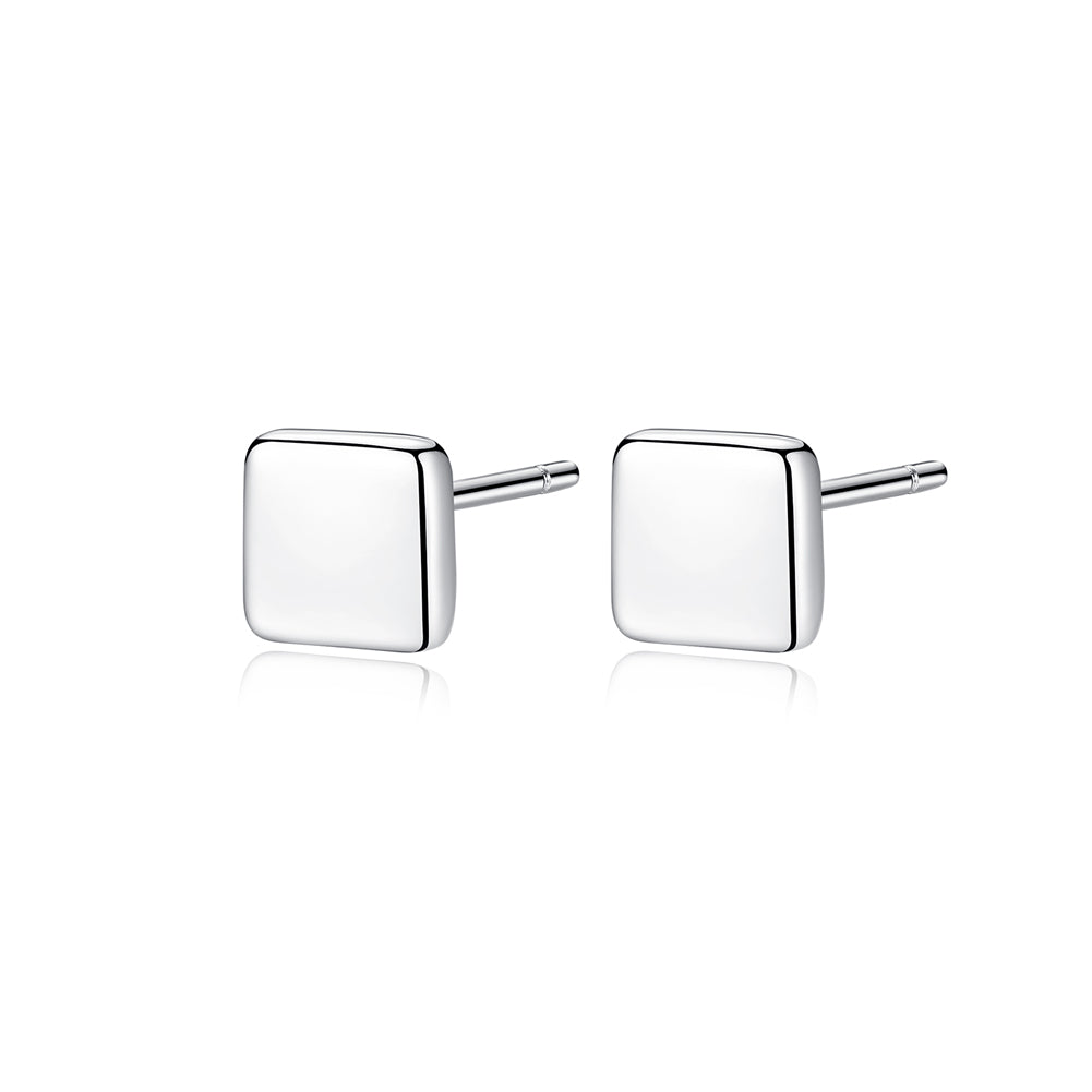 925 Sterling Silver Simple and Fashion Geometric Square Stud Earrings