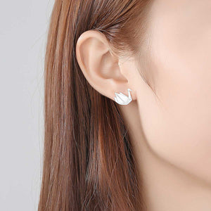 925 Sterling Silver Simple and Elegant Thousand Paper Crane Stud Earrings