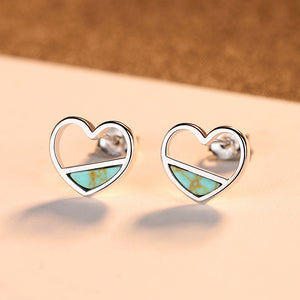 925 Sterling Silver Simple Romantic Hollow Heart Stud Earrings