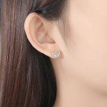 Load image into Gallery viewer, 925 Sterling Silver Simple Romantic Hollow Heart Stud Earrings