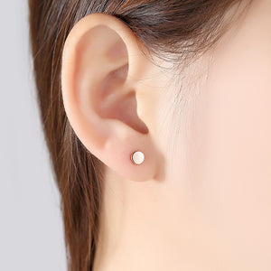 925 Sterling Silver Plated Rose Gold Simple Geometric Round Stud Earrings