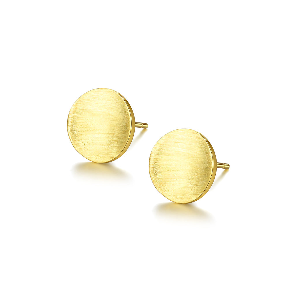 925 Sterling Silver Plated Gold Simple Fashion Geometric Round Stud Earrings