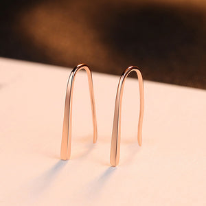 925 Sterling Silver Plated Rose Gold Simple Fashion Geometric Earrings