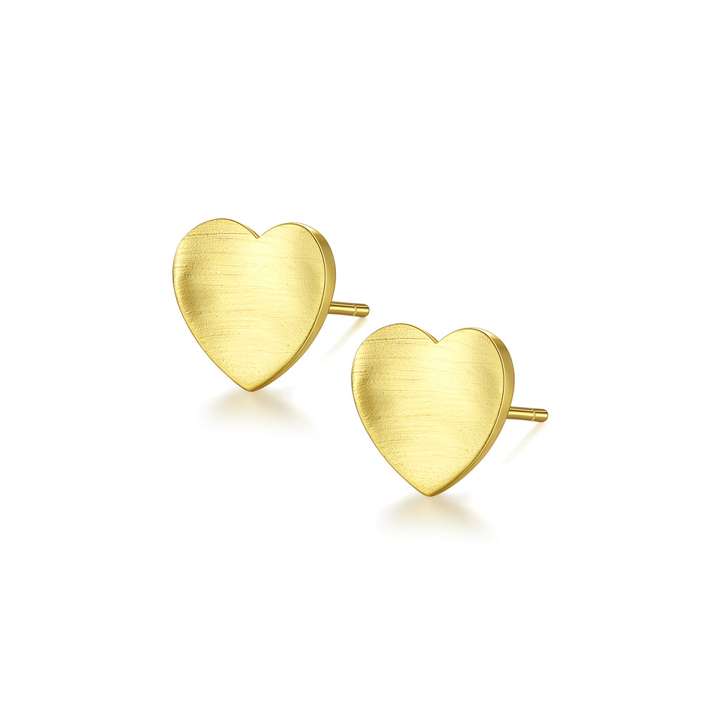 925 Sterling Silver Plated Gold Simple Romantic Heart-shaped Stud Earrings