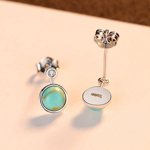 925 Sterling Silver Fashion and Elegant Geometric Round Turquoise Stud Earrings with Cubic Zirconia