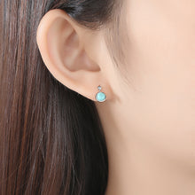 Load image into Gallery viewer, 925 Sterling Silver Fashion and Elegant Geometric Round Turquoise Stud Earrings with Cubic Zirconia