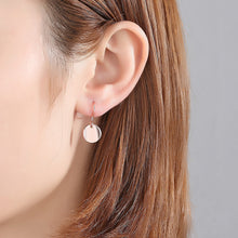 Load image into Gallery viewer, 925 Sterling Silver Plated Rose Gold Fashion Simple Geometric Round Earring