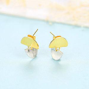 925 Sterling Silver Simple and Lovely Two-color Geometric Fan Earrings