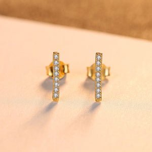 925 Sterling Silver Plated Gold Simple and Delicate Geometric Rectangular Cubic Zirconia Stud Earrings