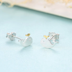 925 Sterling Silver Simple Cute Whale Stud Earrings