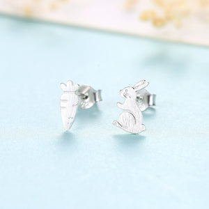 925 Sterling Silver Simple Creative Carrot Rabbit Asymmetric Stud Earrings