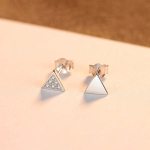 925 Sterling Silver Simple Fashion Geometric Triangle Cubic Zircon Asymmetric Stud Earrings
