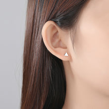 Load image into Gallery viewer, 925 Sterling Silver Simple Fashion Geometric Triangle Cubic Zircon Asymmetric Stud Earrings