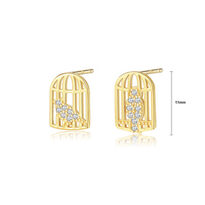 925 Sterling Silver Fashion and Elegant Bird Cage Stud Earrings with Cubic Zirconia