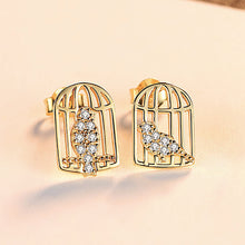 Load image into Gallery viewer, 925 Sterling Silver Fashion and Elegant Bird Cage Stud Earrings with Cubic Zirconia