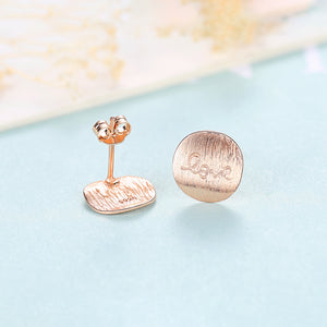 925 Sterling Silver Plated Rose Gold Simple Romantic Love Geometric Round Stud Earrings