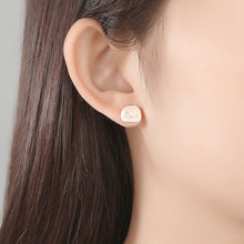 Load image into Gallery viewer, 925 Sterling Silver Plated Rose Gold Simple Romantic Love Geometric Round Stud Earrings