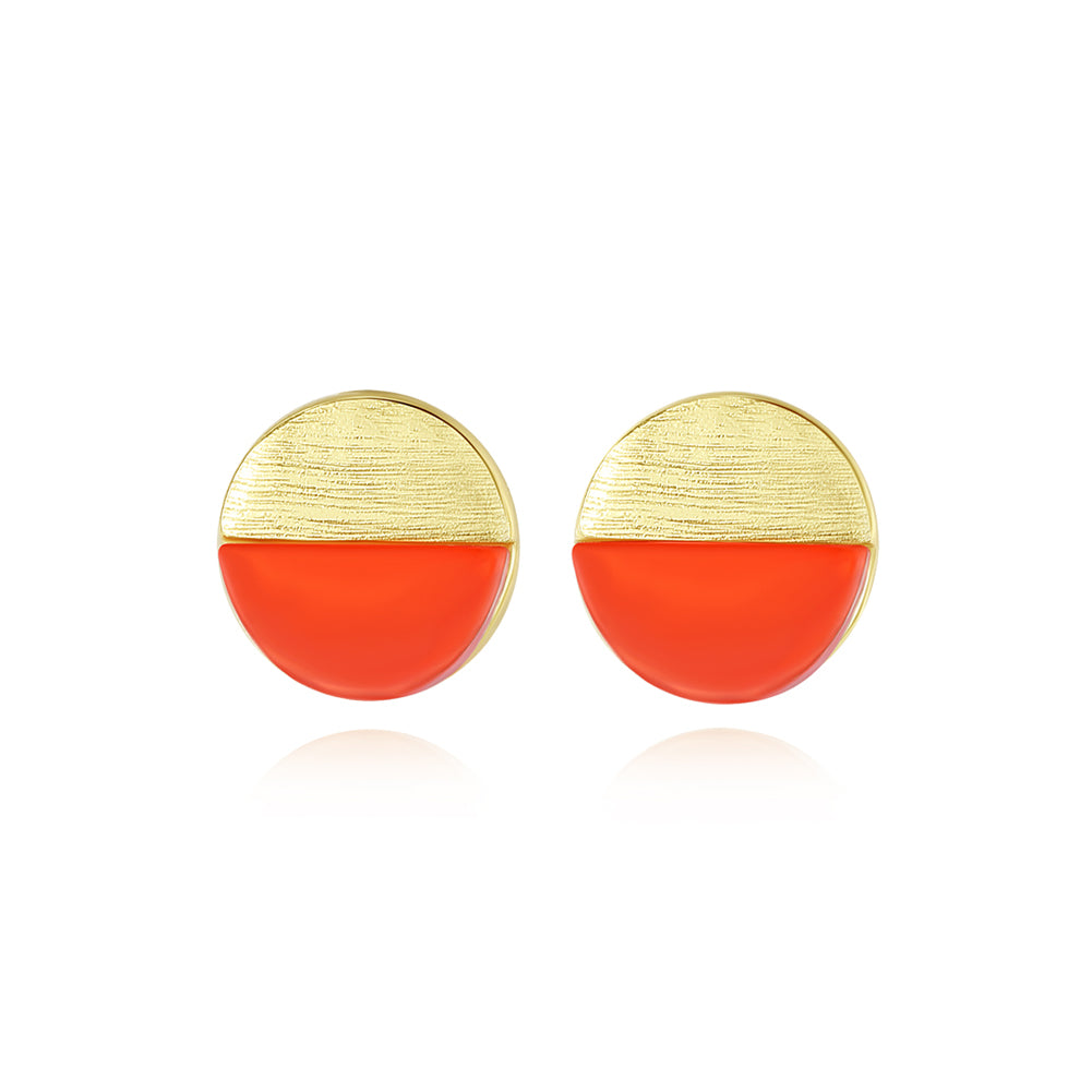 925 Sterling Silver Plated Gold Simple Geometric Two-color Round Stud Earrings
