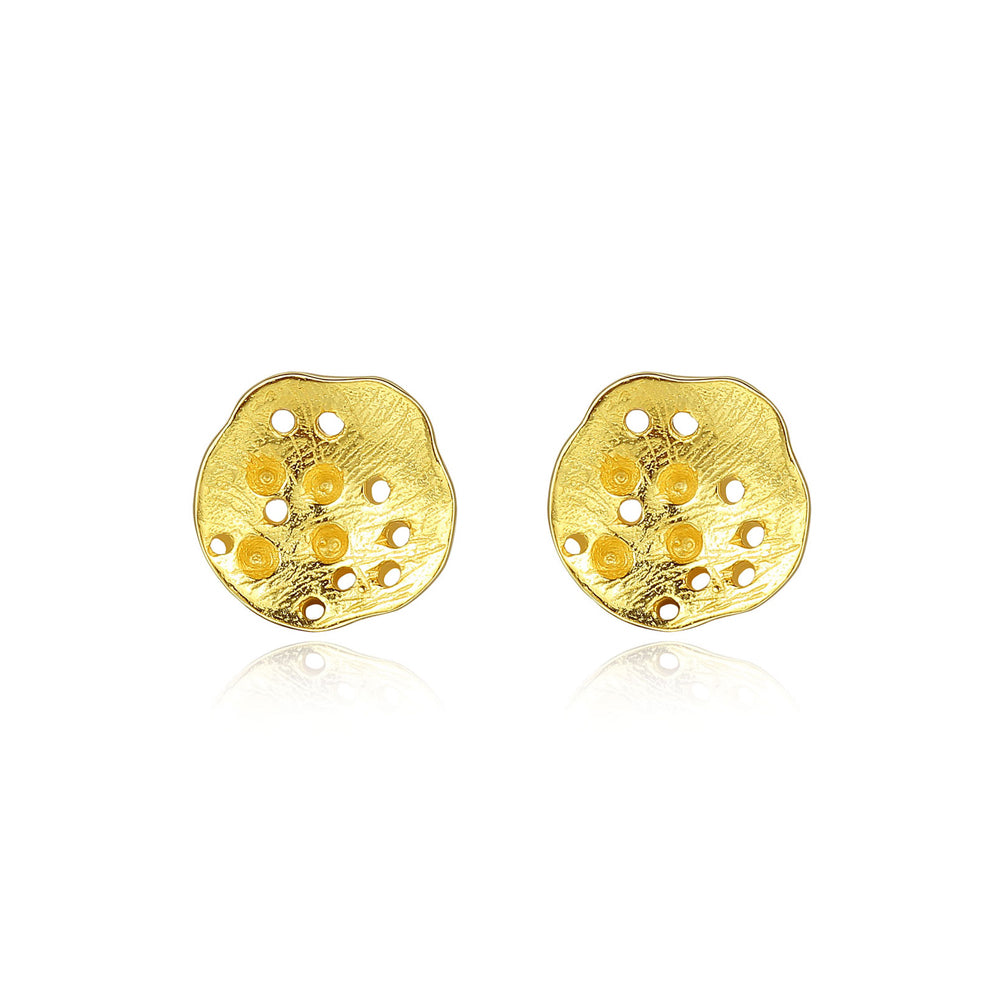 925 Sterling Silver Simple and Elegant Plated Gold Lotus Root Stud Earrings