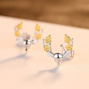 925 Sterling Silver Simple Cute Christmas Elk Stud Earrings