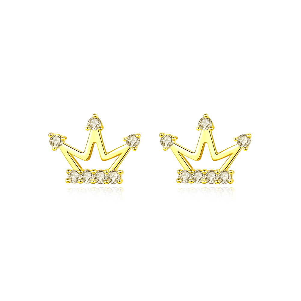 925 Sterling Silver Plated Gold Simple Fashion Crown Stud Earrings with Cubic Zirconia