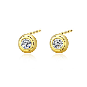 925 Sterling Silver Plated Gold Simple Classic Geometric Round Cubic Zirconia Stud Earrings