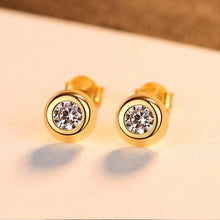 Load image into Gallery viewer, 925 Sterling Silver Plated Gold Simple Classic Geometric Round Cubic Zirconia Stud Earrings