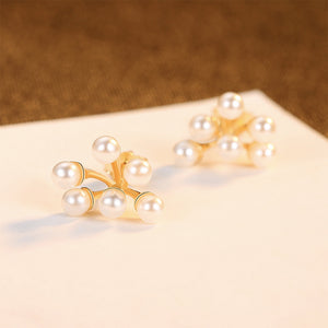 925 Sterling Silver Plated Gold Fashion Elegant Floral Fashion Pearl Stud Earrings