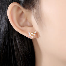 Load image into Gallery viewer, 925 Sterling Silver Plated Gold Fashion Elegant Floral Fashion Pearl Stud Earrings