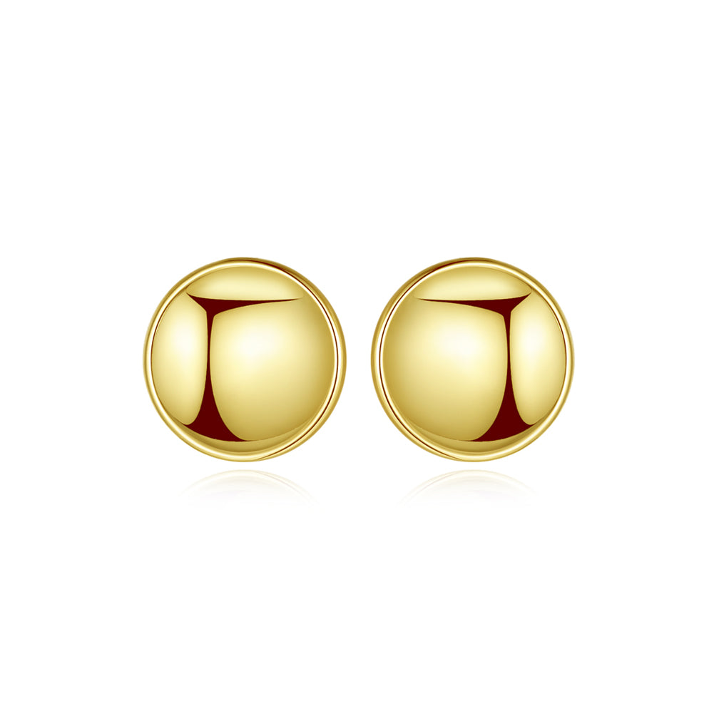 925 Sterling Silver Plated Gold Simple Classic Geometric Round Stud Earrings