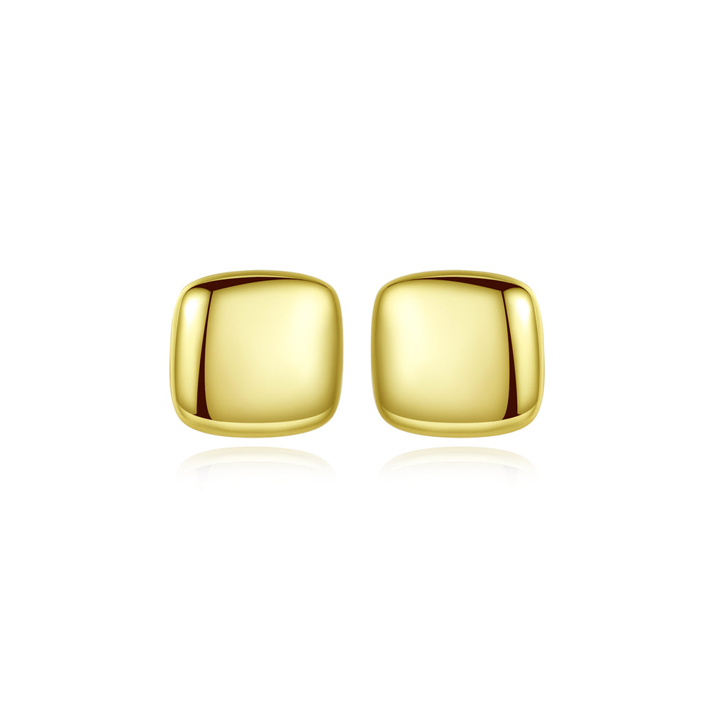 925 Sterling Silver Plated Gold Simple Fashion Geometric Square Stud Earrings