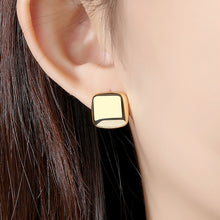 Load image into Gallery viewer, 925 Sterling Silver Plated Gold Simple Fashion Geometric Square Stud Earrings