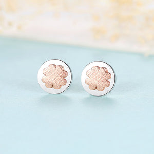925 Sterling Silver Fashion Simple Apricot Four-leafed Clover Geometric Round Stud Earrings