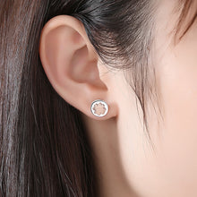 Load image into Gallery viewer, 925 Sterling Silver Fashion Simple Apricot Four-leafed Clover Geometric Round Stud Earrings