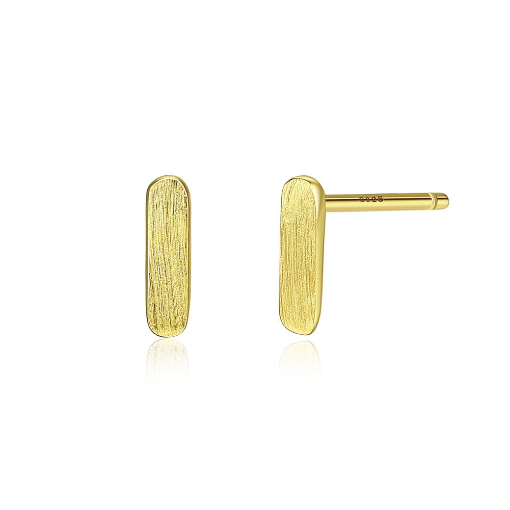 925 Sterling Silver Plated Gold Simple Fashion Geometric Stud Earrings