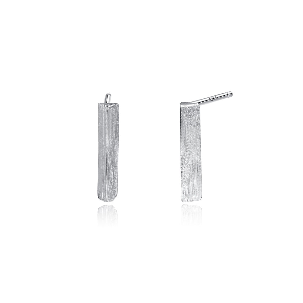 925 Sterling Silver Simple Fashion Geometric Strip Stud Earrings