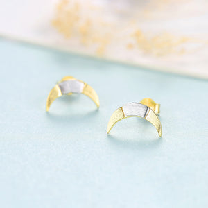 925 Sterling Silver Simple and Fashion Two-color Moon Stud Earrings