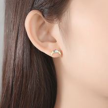 Load image into Gallery viewer, 925 Sterling Silver Simple and Fashion Two-color Moon Stud Earrings