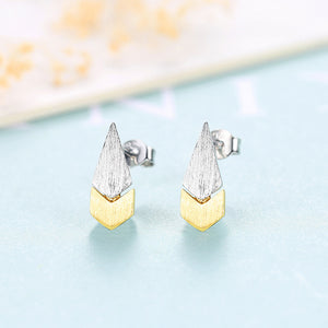 925 Sterling Silver Simple and Fashion Two-color Water Drop Stud Earrings