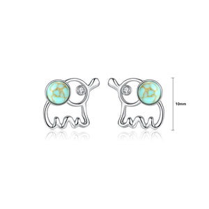 925 Sterling Silver Fashion Simple Elephant Stud Earrings with Cubic Zirconia