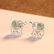 Load image into Gallery viewer, 925 Sterling Silver Fashion Simple Elephant Stud Earrings with Cubic Zirconia