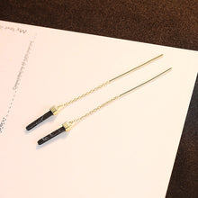 Load image into Gallery viewer, 925 Sterling Silver Plated Gold Simple Elegant Geometric Rectangular Tassel Earrings