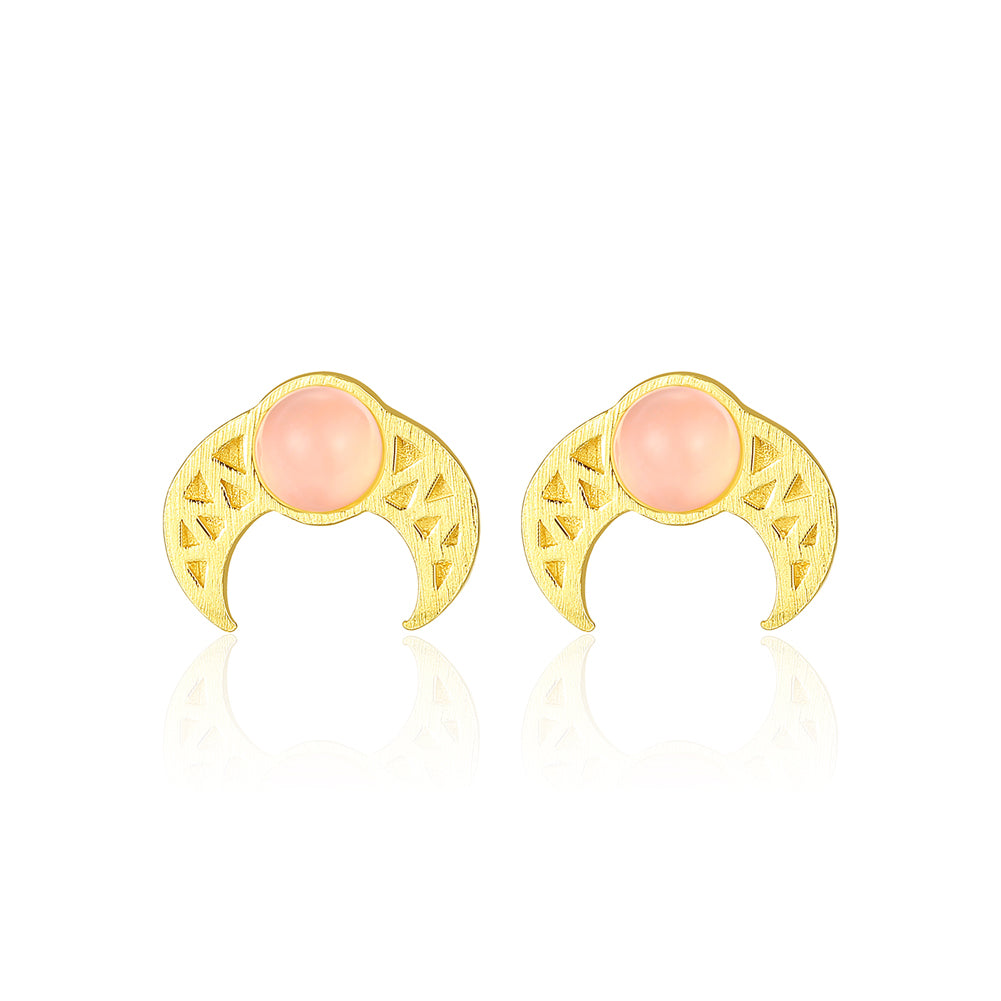 925 Sterling Silver Plated Gold Simple Fashion Pattern Moon Stud Earrings with Pink Opal