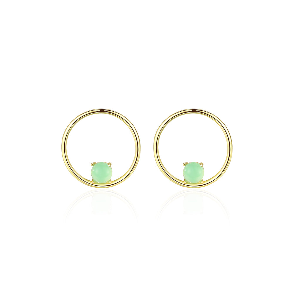 925 Sterling Silver Plated Gold Simple Fashion Geometric Round Stud Earrings with Green Opal