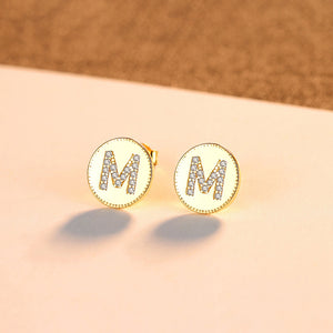 925 Sterling Silver Plated Gold Fashion Simple English Alphabet M Geometric Round Stud Earrings with Cubic Zirconia