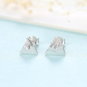 925 Sterling Silver Simple Creative Mountain Stud Earrings
