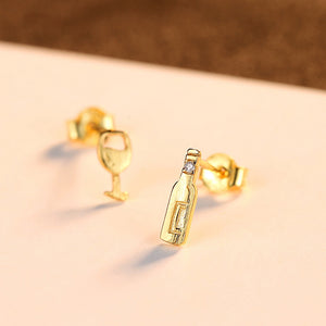 925 Sterling Silver Plated Gold Simple Personality Wine Bottle Wine Glass Asymmetric Earrings with Cubic Zirconia