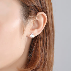 925 Sterling Silver Simple Fashion Geometric Diamond Stud Earrings